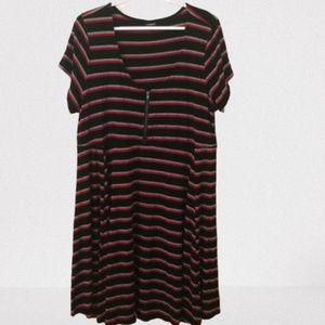 Torrid Knit Dress Pink Black Striped 3/3X/22-24